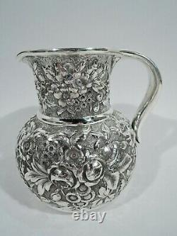 Whiting Water Pitcher 1329n Antique Repousse American Sterling Silver