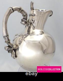 Wolfers & Frères Antique Unique Années 1890 Belge Sterling Silver Water Jug Pitcher